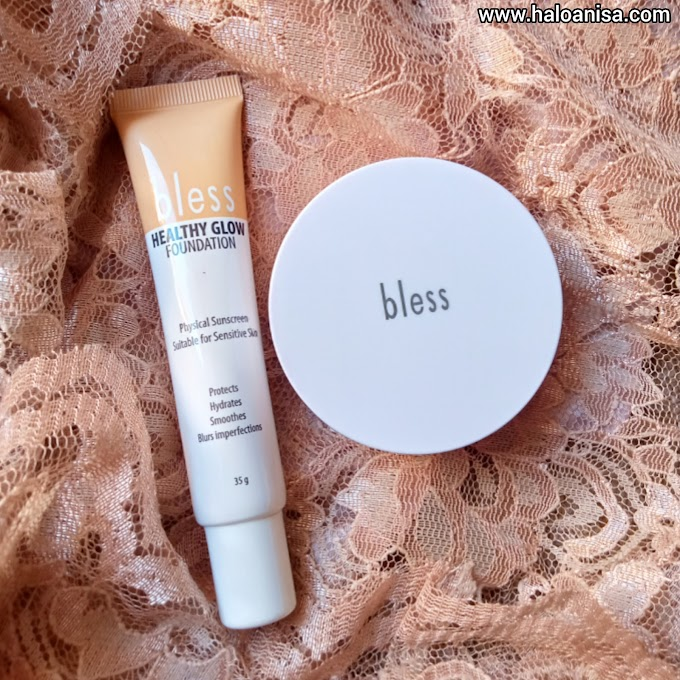 Review Bless Healthy Glow Foundation - Acne Face Powder HALOANISA