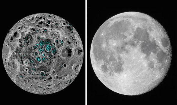 agua helada en el polo sur de la Luna