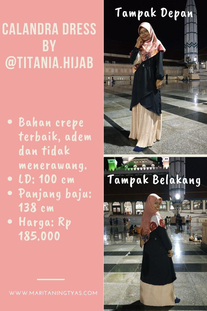 tampak depan belakang calandra dress @titania.hijab