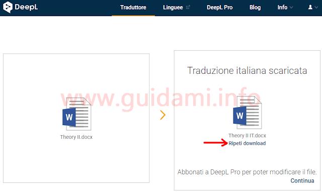 DeepL Traduttore opzione Ripeti download file documento tradotto