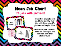 """bright, neon job chart... so fun and the pictures will help all students be able to """"read"""" the job chart!"""