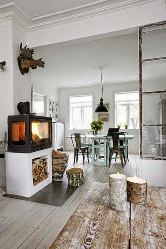 Chimenea, estufa, ambiente, vintage