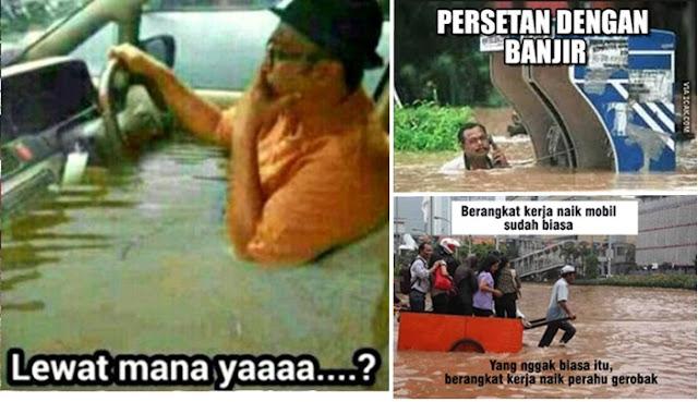 Bikin Ngakak, Inilah 12 Meme Kocak Buatan Warganet Tentang Banjir Jakarta,meme banjir jakarta,meme lucu banjir jakarta,banjir jakarta,rumah artis terkena banjir