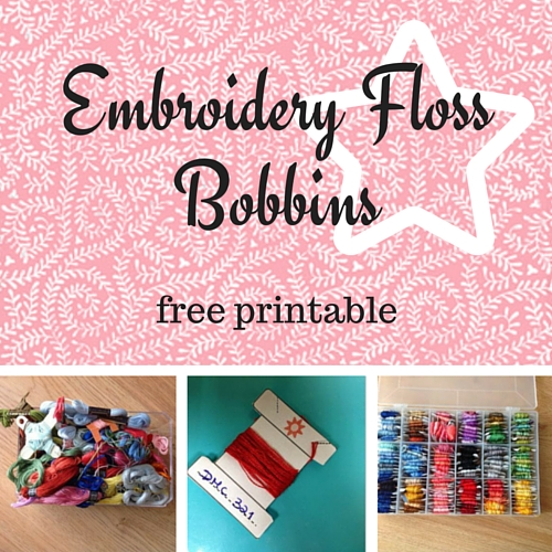 Embroidery floss bobbins - free printable