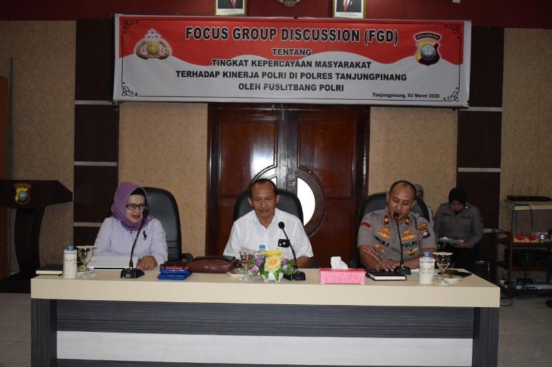 Puslitbang Polri Gelar FGD dan Survey Tingkat Kepercayaan Masyarakat Terhadap Kinerja Polri di Polres Tanjungpinang