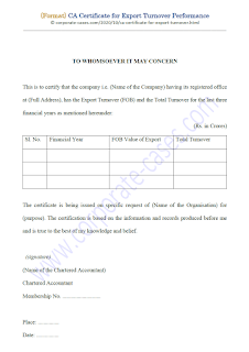 ca certificate format for export turnover
