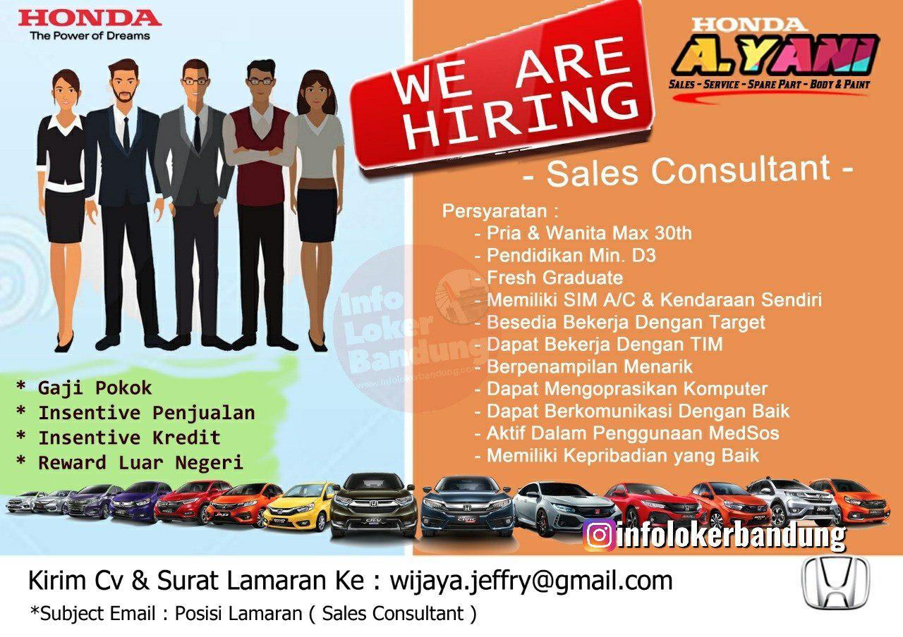 Lowongan Kerja Sales Consultant Honda Ahmad Yani Bandung Oktober 2019