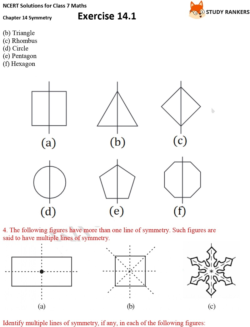 NCERT Solutions for Class 7 Maths Chapter 14 Symmetry Exercise 14.1 Part 4