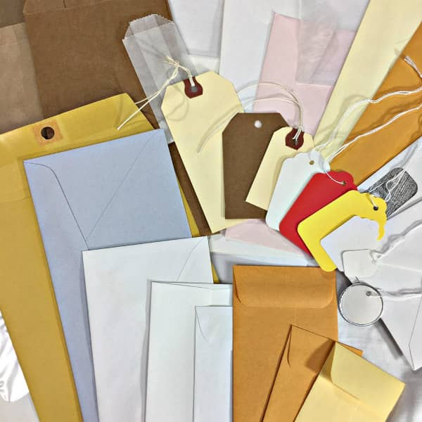 bags, tags, and envelopes assortment