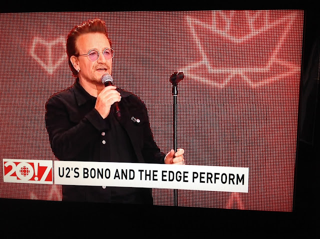 Screenshot CBC coverage Canada 150, Ottawa - Bono gives a moving speech about Canada