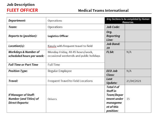 Fleet Officer at Medical Teams International June 2021