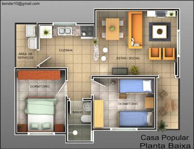plantas baixas casas2 quartos