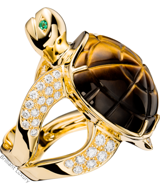 Brilliant Luxury♦Boucheron Paris Honu Turtle Tiger's Eye ring
