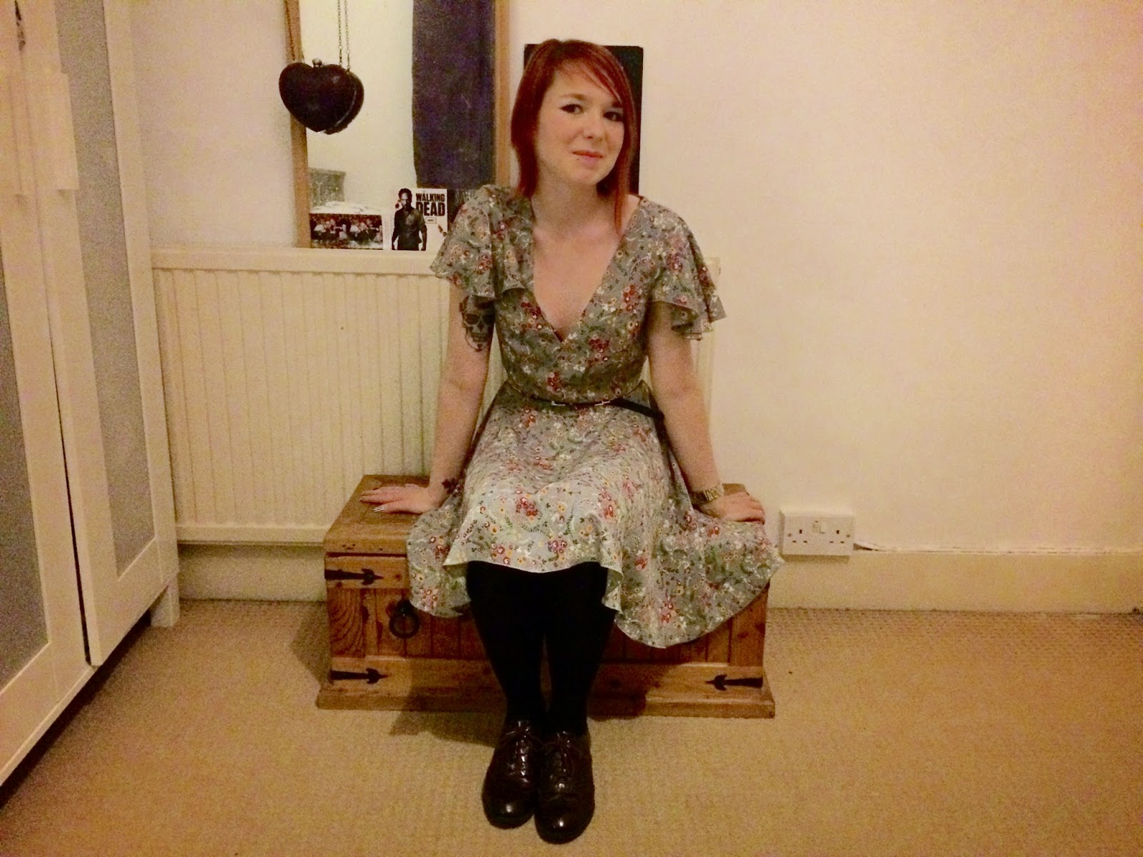 Floral dress with brogues, New Look brogues, New Look shoes