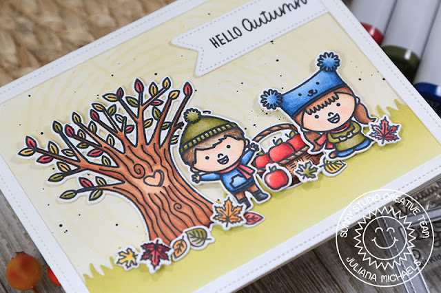 Sunny Studio Stamps: Fall Kiddos Happy Harvest Comic Strip Everyday Dies Hello Autumn Card by Juliana Michaels