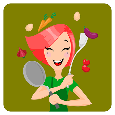 happy cartoon woman with cooking utensils and vegetables