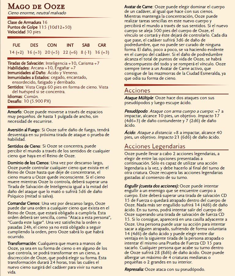Dominio del Terror para Ravenloft - Mágico Mundo de Ooze - Mago de Ooze