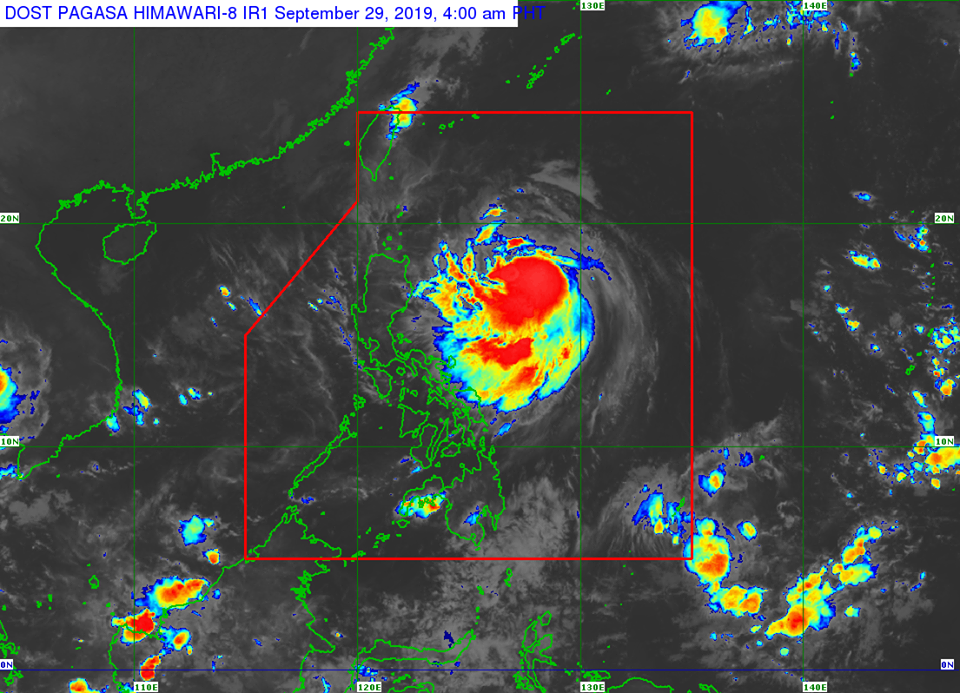 Satellite image of Tropical Storm 'Onyok' as of 4:40 am on Sunday, September 29