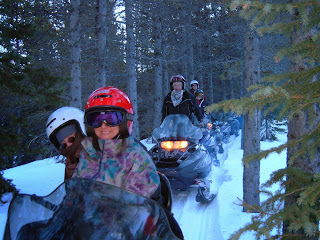 Exterior winter photo of 5 people snowmobiling in the trees.