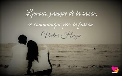 Citation d'amour de V Hugo : L'amour, panique de la raison, se communique par le frisson.