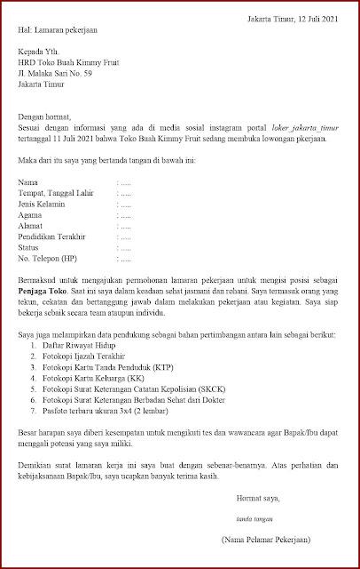 Contoh Application Letter Untuk Penjaga Toko (Fresh Graduate) Berdasarkan Informasi Dari Media Sosial