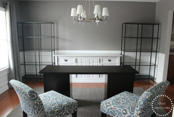 Heres The Office After We Assembled Shelving Units Attached Drawer Pulls To Dresser