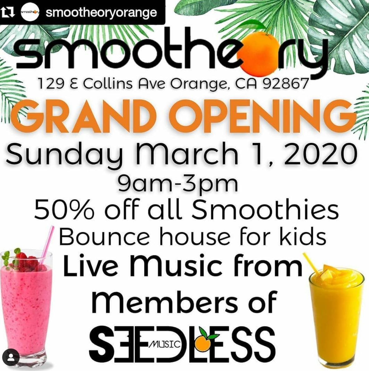 Mar. 1 | 50% Off All Smoothies @ Smootheory - Orange