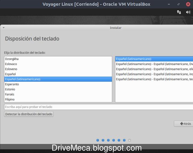 Activamos distribucion de teclado en instalacion de Voyager Linux