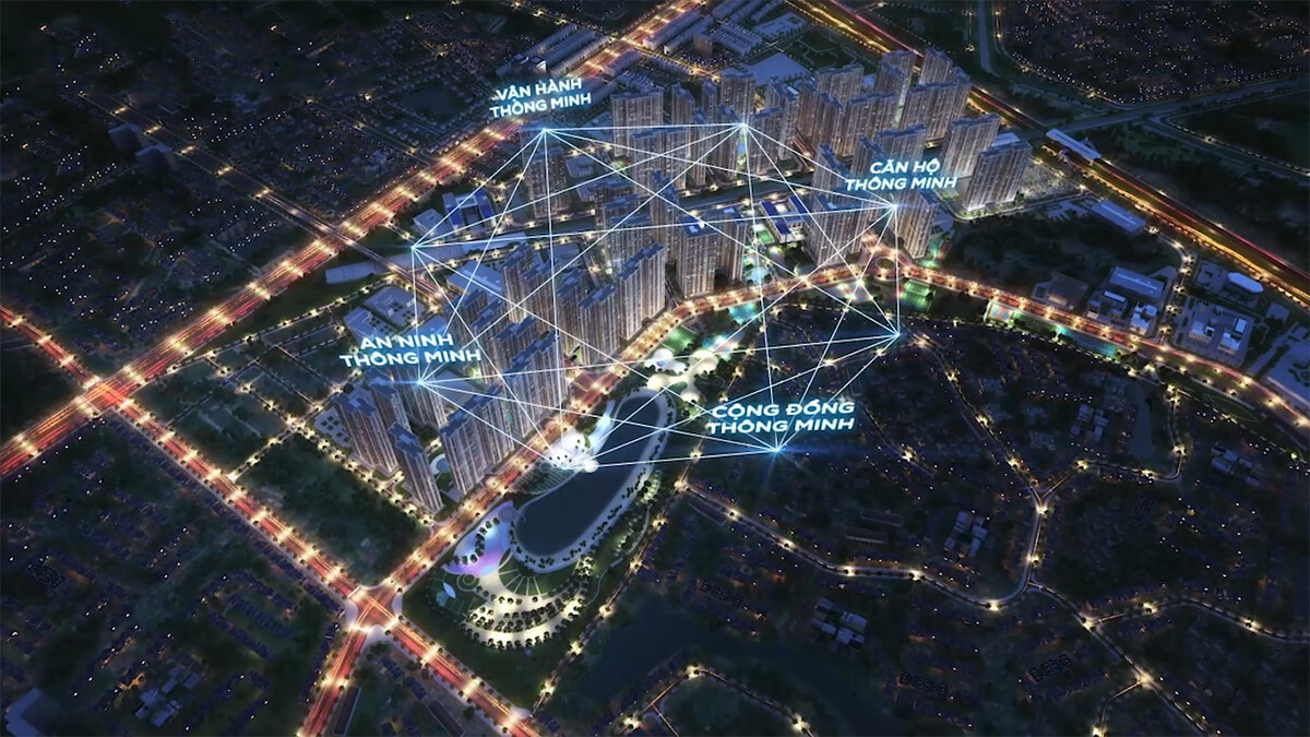 Phối cảnh về đêm của Vinhomes Smart City