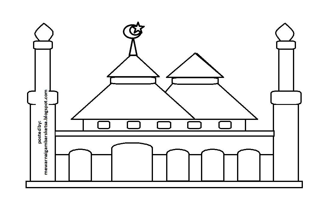 Mewarnai Gambar Gambar Tempat Ibadah