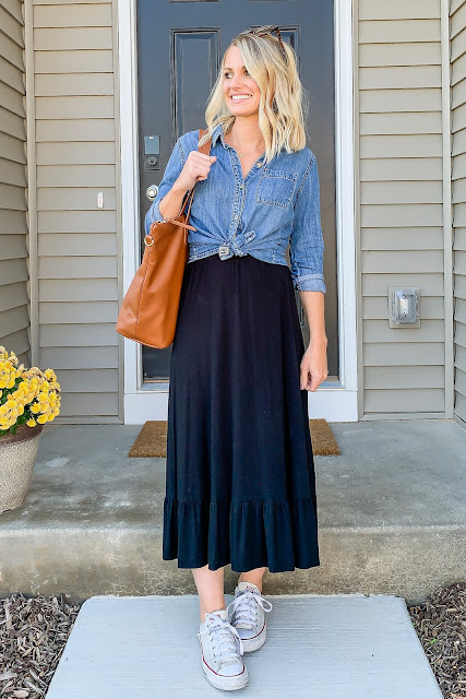 Chambray top with black skirt