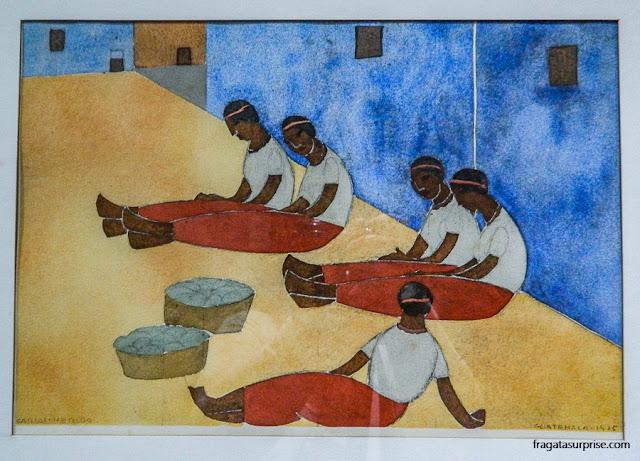 """""""Descanso"""", obra do pintor Carlos Mérida no Museu Nacional de Belas Artes Carlos Mérida, Cidade da Guatemala"""