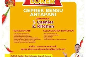 Loker Bandung Karyawan Geprek Bensu Antapani