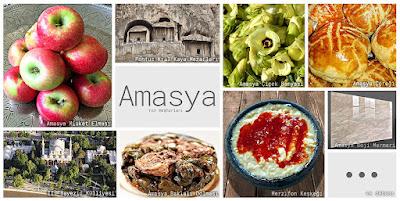 Amasya'nın meşhur şeylerini gösteren resimlerden oluşan kolaj