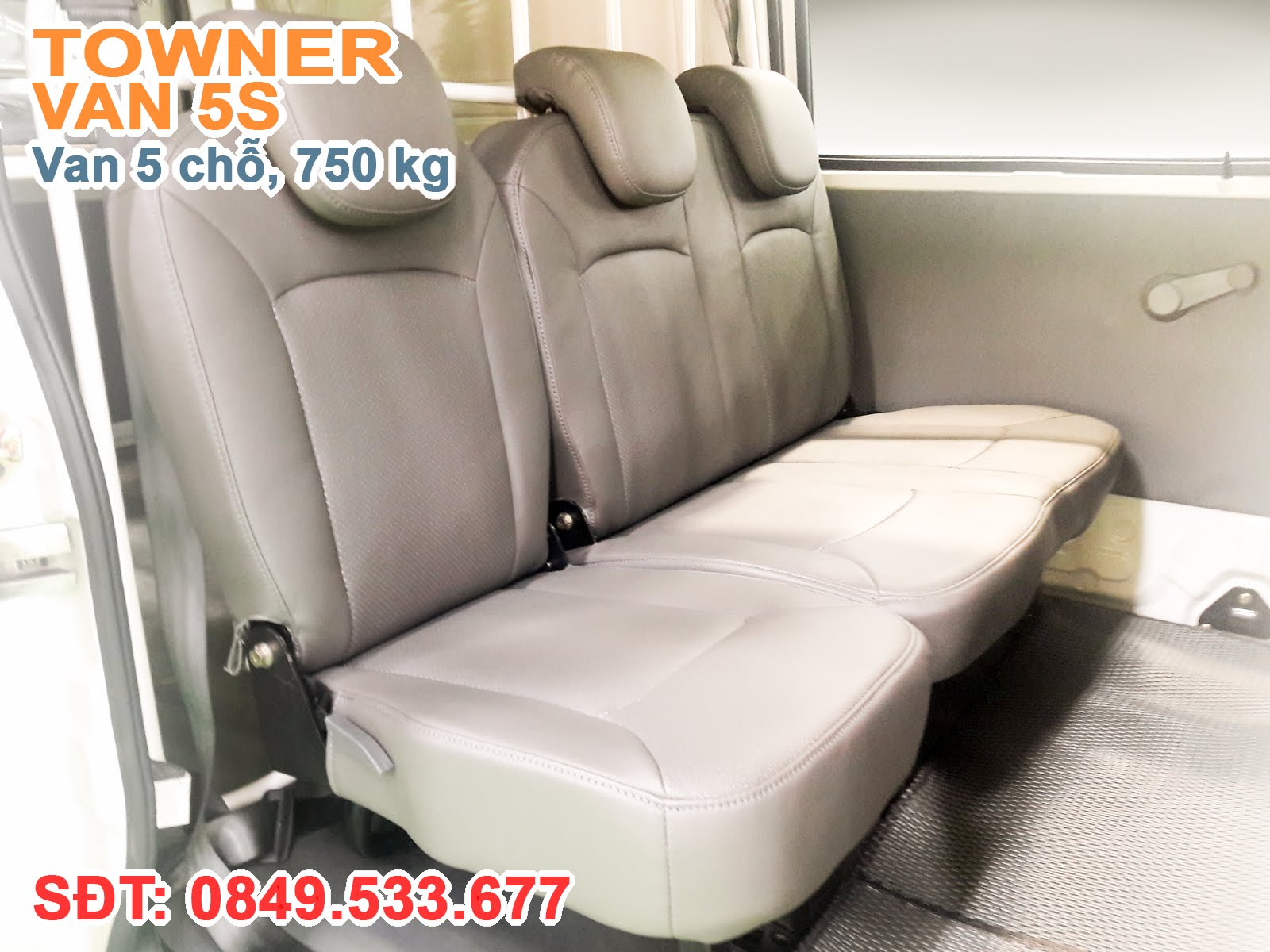 Xe thaco Towner Van 5S, Ghế được bọc Simili cao cấp, tất cả các ghế được trang bị tựa đầu riêng