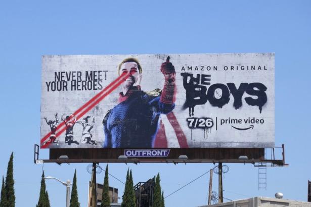 Boys Homelander Banksy homage billboard