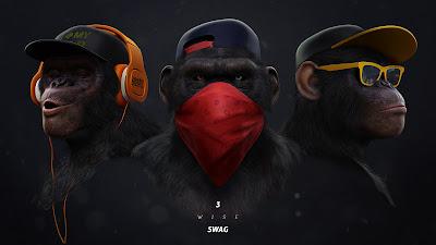 3 monos gansters con gafas y ganas de pelea