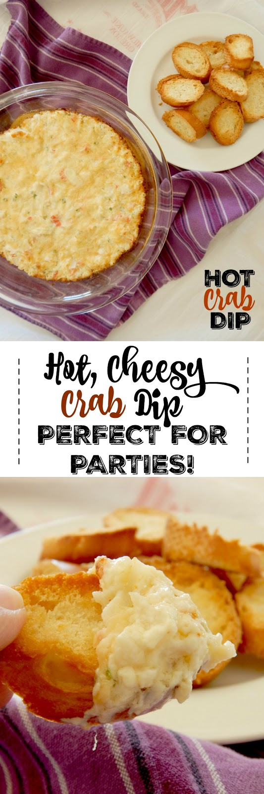 Hot Crab Dip...the perfect hot party dip!  Cheesy, onion-y and loaded with lump crab meat, this party dip will disappear quickly. (sweetandsavoryfood.com)