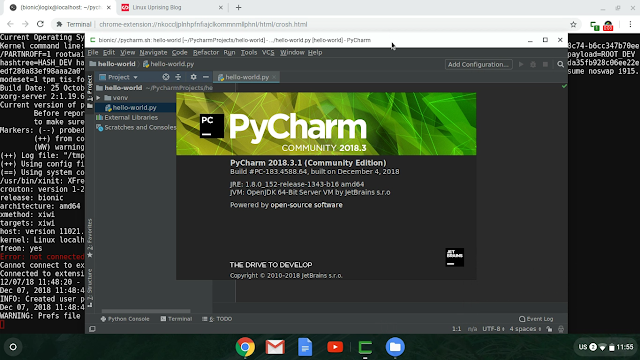 PyCharm running in a Chrome OS window