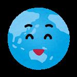 地球のイラスト(笑った顔)