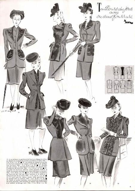 magazine mode et travaux octobre 1942 tailleurs du jour avec ou sans fourrure