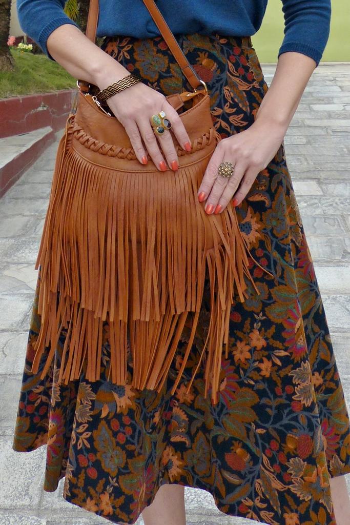 Double fringe brown bag