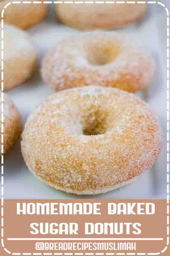 HOMEMADE BAKED Sugar Donuts recipe that is easy to make and ready in 15 minutes. These simple and extra soft donuts taste just like raised sugar donuts from your favorite bakery! #Bread #Recipes #homemade #breakfast