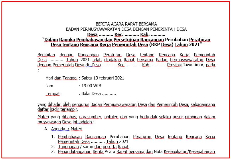 Download Berita Acara Rapat BPD dan Pemdes Persetujuan Rancangan Perubahan Peraturan Desa  Download Berita Acara Rapat BPD dan Pemdes Persetujuan Rancangan Perubahan Peraturan Desa tentang Rencana Kerja Pemerintah Desa (RKP Desa) Tahun 2021