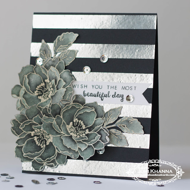 Monochromatic Card with bold striped background and #altenew stamps