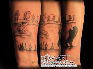 Horgász tetoválás, készítette: Nagyváti Dávid Szegedi tetováló művész