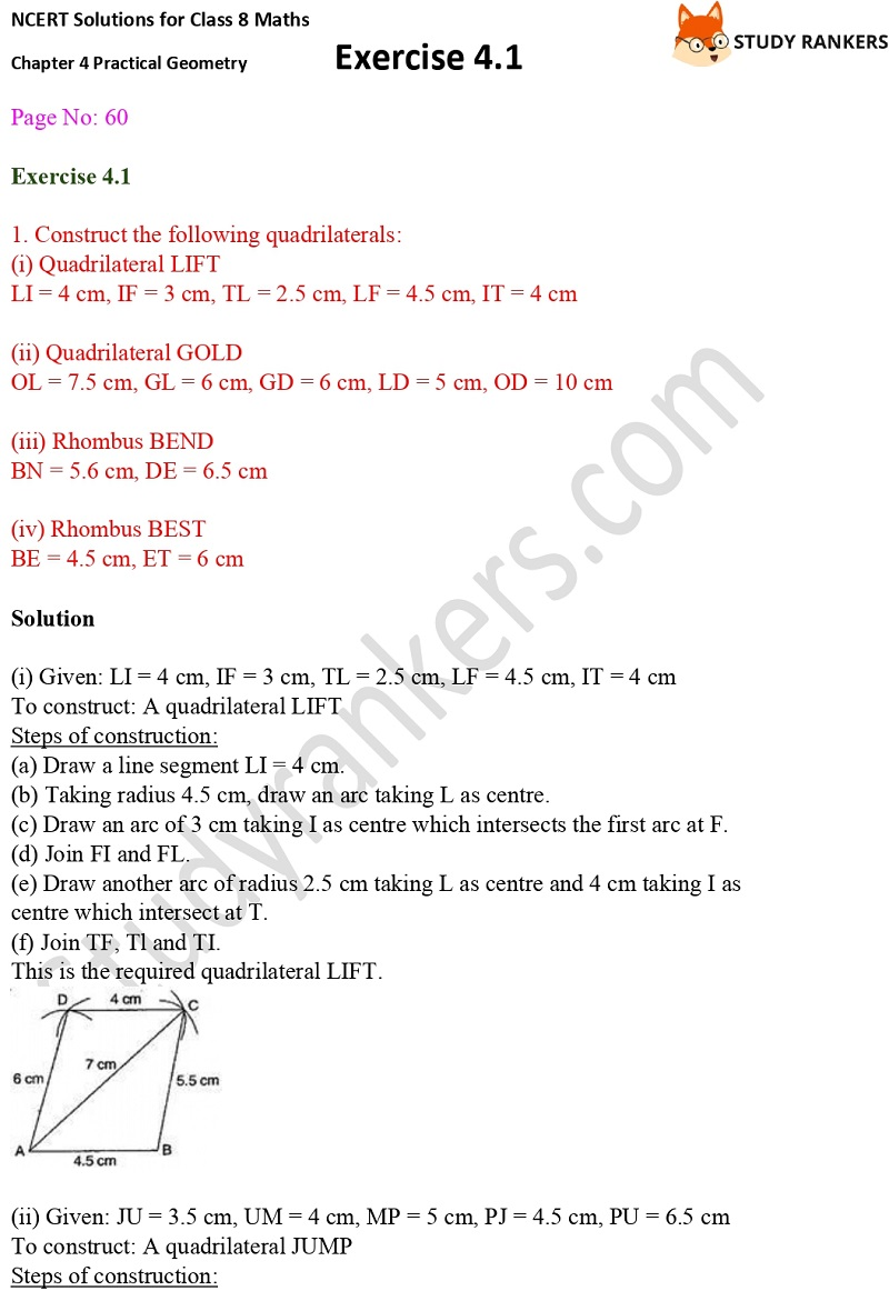 NCERT Solutions for Class 8 Maths Ch 4 Practical Geometry Exercise 4.1 1