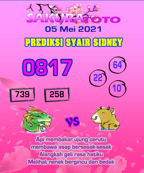 Syair Sakuratoto Sidney Rabu 05 Mei 2021