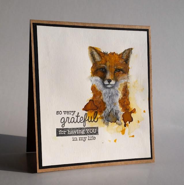 kartka akwarelowy lis, farby akwarelowe, ręcznie malowane