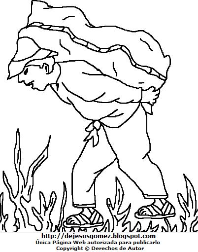 Imagen del Campesino cargando su cosecha para colorear, pintar e imprimir - Dibujo por el Día del Campesino. Dibujo de campesino de Jesus Gómez